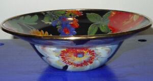 """Mackenzie Childs Enamelware Flower Market Bowl Black 7.75"""""""