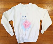 Vintage 1990s Bob Harrison White Longhair Cat Rose Sweatshirt Made In The Usa M