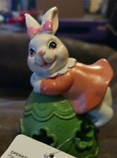 """Cottondale Led Resin Bunny with Green Egg Decorative Easter Holiday Figure 4"""""""
