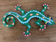 """Colourful Caribbean Recycled Handmade Metal Gecko Lizzard Wall Hanging 8"""" G42"""