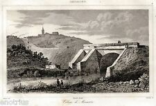Monastir: Panorama. Cagliari.Sardegna.Acciaio. Stampa Antica + Passepartout.1839