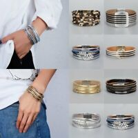 Multilayer Crystal Leather Bracelets Handmade Magnetic Clasp Wristband Bangle