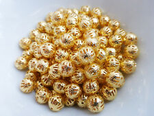 10 x Pretty Round Filigree BRASS Beads Gold Plated 8mm Nickel Free Craft  (MB36)