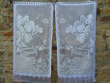 French lace curtain motif garden park tree  23.5'' x 47'' of each