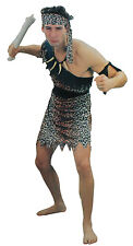 Adult Mens Caveman Costume Set One Size Cave Man Leopard Animal Print Dress Up