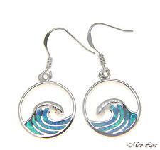 925 Sterling Silver Rhodium Hawaiian Ocean Wave Blue Opal Wire Hook Earrings