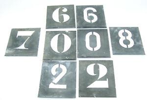 8 anciens pochoir chiffre en Zinc de 7 cm dépareillés et incomplet