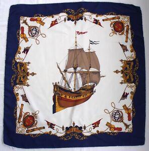 "Vintage DANY FRANCOIS Classic NAUTICAL Blue SHIP Twill Silk Designer 32"" Scarf"
