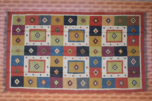 Southwestern Navajo Kilim Dhurry Handmade Area Rug Wool Jute Large Kelim Rug 5x8
