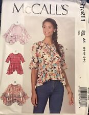McCall's pattern R10211 Misses' Loose fitting Tops size 6, 8, 10, 12, 14 uncut