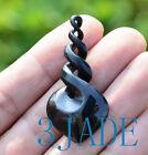 Natural+Black+Nephrite+Jade+Quad+Twist+Pendant+Necklace+NZ+Maori+Design+Carving