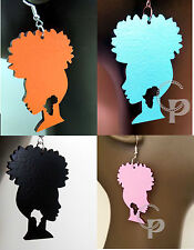 Laser cut wooden Afro girl Africa earrings large sizes turquoise red,pink, black