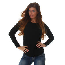 Sexy langarm Sweatshirt Shirt Pulli Pullover mit Stern 34 36 38 S M Schwarz