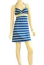 SAVVY SZ US XL (14-16) WOMENS Blue & Silver Glitter Striped Stretch Halter Dress