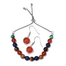 Carnelian, Multi Gemstone Copper, Stainless Steel Bolo Bracelet (Adj.) & Earring