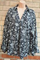 H&M BLACK WHITE FLORAL V NECK LONG SLEEVE OVERSIZED TUNIC BLOUSE TOP SHIRT 8 10