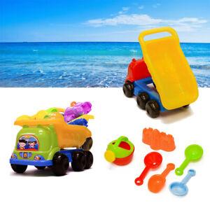 7 Pieces Dump Truck Beach Toy Set Summer Backyard Sandbox For Kids Boy Girl Gift