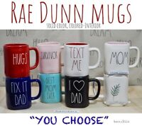 "Rae Dunn Mug 'YOU CHOOSE"" Colored, Colored -Inside, Black, Red, Pink NEW '19-'20"