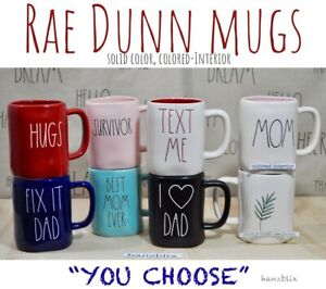 """Rae Dunn Mug 'YOU CHOOSE"""" Colored, Colored -Inside, Valentine's Day NEW '19-'20"""