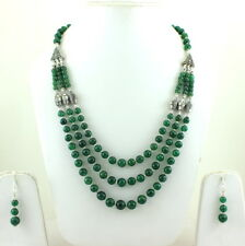 NATURAL GREEN AVENTURINE GEMSTONE BEADED BEAUTIFUL NECKLACE,EARRINGS 65 GRAMS
