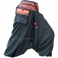 Mens / Womens Gypsy Hippie Aladdin Hmong Baggy Black Harem Pants Hammer Trousers