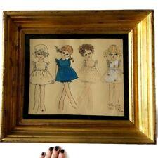 Vtg Framed Henry Darger Style Inspired Vivian Girl Cartoon Children Signed Duffy