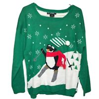 United States Sweaters Green Ugly Tacky Christmas Holiday Sweater Sz XL Penguin