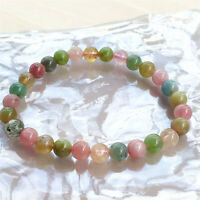 Genuine Natural Colorful Tourmaline 6mm Clear Round Beads Women Bracelet AAAA
