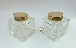 """PAIR GOOD QUALITY HEAVY BRASS SOLID GLASS INKWELL INK BOTTLES  2"""" SQUARE"""