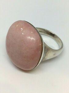 Pink Mangano Calcite 925 Silver Ring