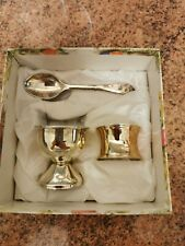 christening gift set, egg cup spoon and napkin ring