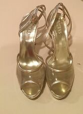 Guess Clear Slide Gold Lined Platform Heels Sandals Women's Size 5M