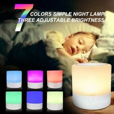 Kids Rechargeable LED Touch Night Light 7 Colors Dimmable Bedside Table Lamp UK