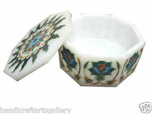 "4""x4""x2"" Leather Jewelry Box Malachite Stone Inlay Marquetry Art Decor Gifts"