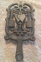 "Vintage Wilton Cast Iron Trivet 8.5"" X 4.5"" With Love Birds & Hearts Design"
