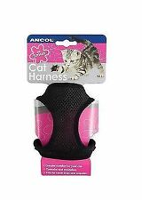 Ancol Cat Harness & Lead Set Comfy Mesh Body Machine Washable Black Large