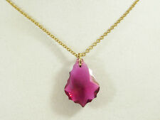 Faceted FUSCHIA PINK Glass Drop Pendant Chain Necklace Beveled Edges Vintage