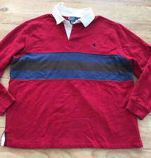 Vintage Polo Ralph Lauren Rugby Shirt Red Striped Long Sleeve Size XL