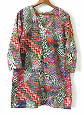 Tunic Milti-Color 3/4 Sleeve Slit Sides Size M/L