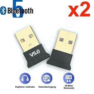 2x Bluetooth Adapter Stick 5.0 Transmitter Dongle PC Notebook Bluetooth Adapter