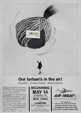 AIR INDIA 5/1960 INTRO BOEING 707 SERVICE NEW YORK-LONDON TURBAN IN AIR AD