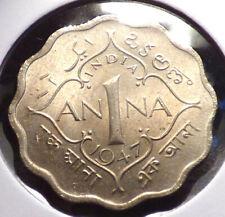 India 1 Anna 1947 (b), XF+ Coin, British Colonial Era, KGVI Issue, KM 538