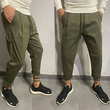 Pantalone Uomo Tuta Verde Sportivo Tinta Unita Cavallo basso moda Basic cotone