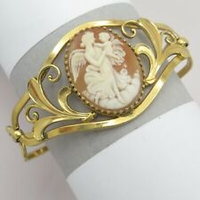 Vtg Gold Filled GF Carved Shell Cameo EOS and Child Signed Simmons Bracelet