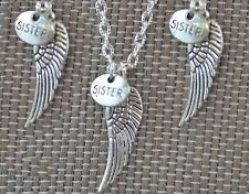NW006-3 Three Sister Angel Wing Necklaces, Best Friends, Sister Gift