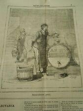Caricature 1875  Vendange Vin Tonneau renouvellement partiel