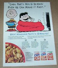 1994 print ad pg -Chex cereal Party Mix recipe Charlie Brown Peanuts advertising