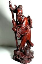 "ANTIQUE EARLY CHINESE HAND CARVED WOOD SCULPTURE FISHERMAN COLLECTIBLE 15"" HIGH"