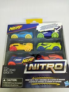 Nerf Nitro Foam Cars - 6-Pack- 6 Different Cars - New In Box.Made By Hasbro 2016