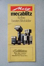 Metz mecablitz flashes 20, 30, 34, 40, 45, 402 folleto coleccionista estado 1979, 6 p.